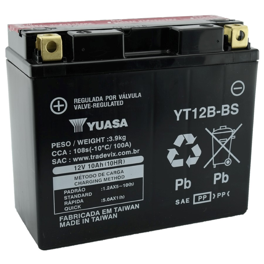 Bateria Yuasa YT12B-BS Fazer 600 / TDM 850 / TDM 900 / YZF-R1 / Ducati 600 / DRAGSTAR 650