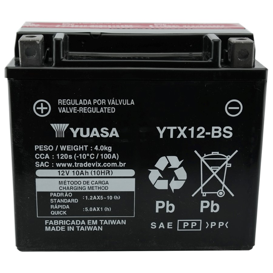 Bateria Yuasa YTX12-BS Suzuki GSX 750 / Kawasaki 900 Ninja 94/97 / DRAG 650 / VL800 Intruder ANO 01/07