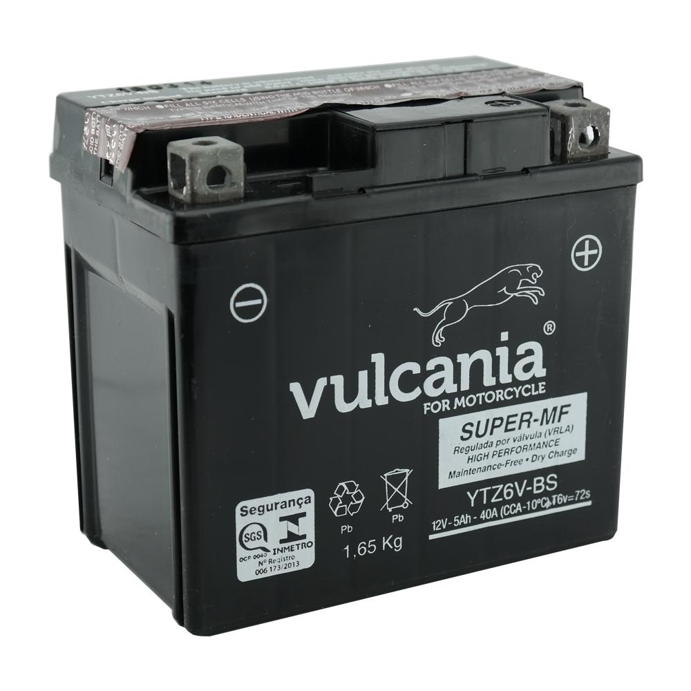 Bateria Vulcania YTZ6V-BS Titan 150 MIX 09 E/D/ BROS 150 MIX FAN 125 / 150 09