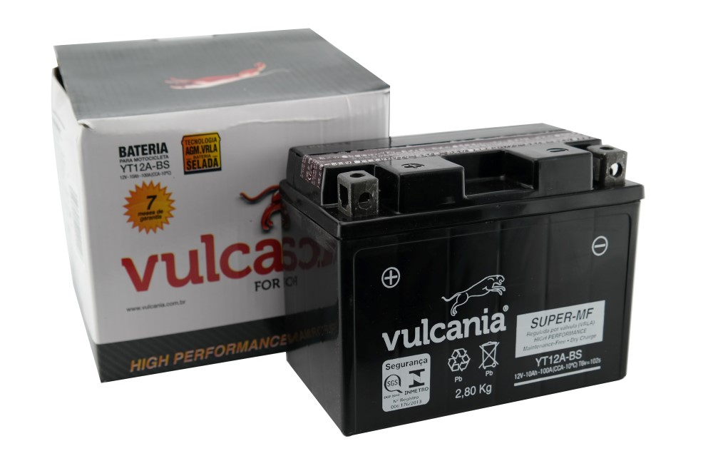 Bateria Vulcania YT12A-BS GSX R750 00-07 / Bandit 1200 / GSX 1300R Hayabusa 99-07