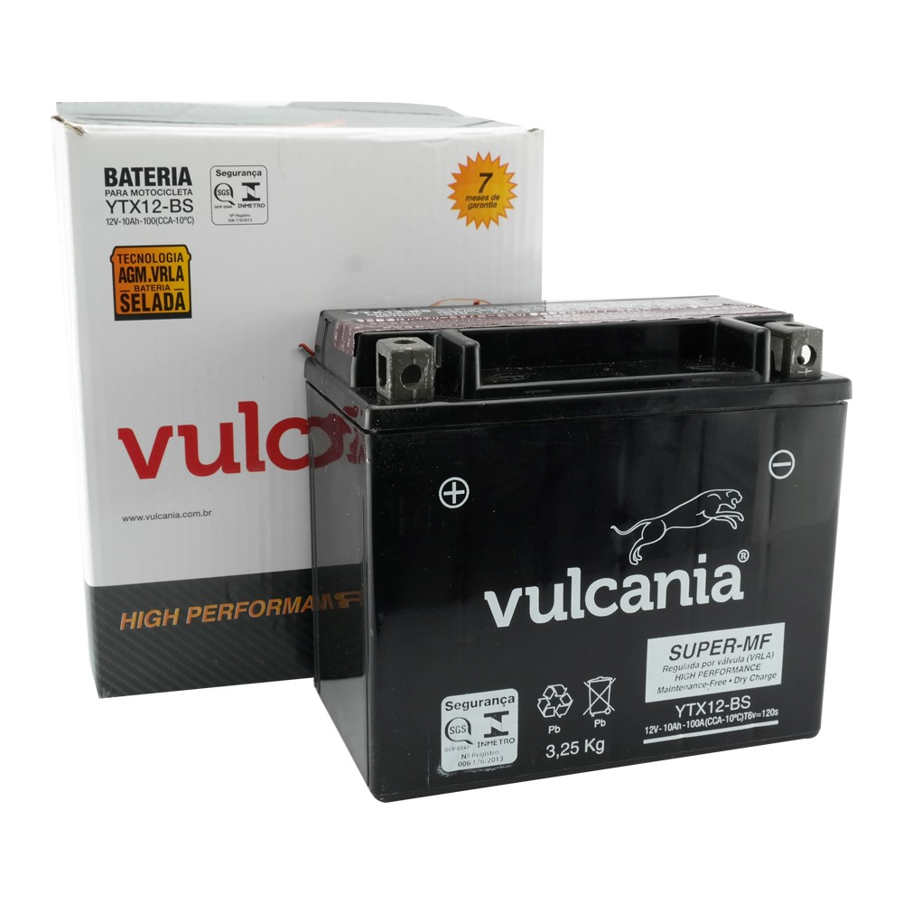 Bateria Vulcania YTX12-BS Suzuki GSX 750 / Kawasaki 900 Ninja 94/97 / DRAG 650 / VL800 Intruder ANO 01/07