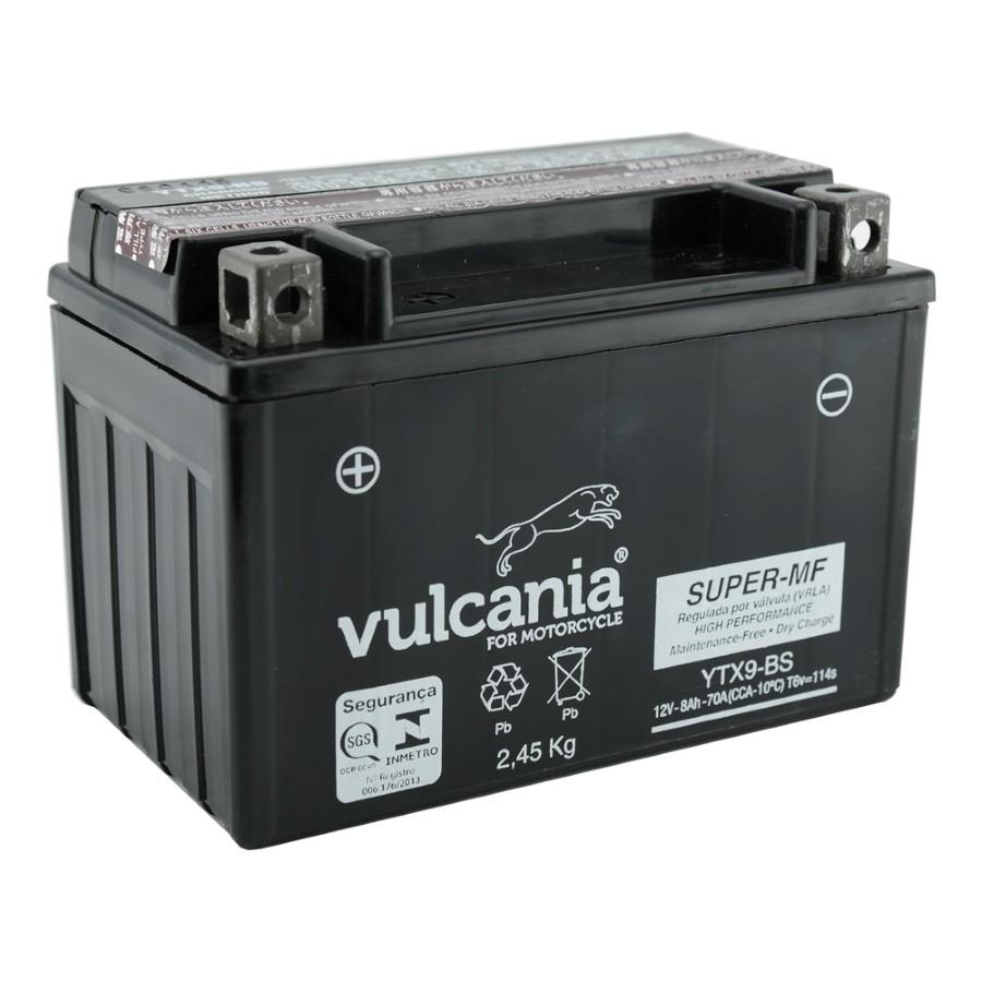 Bateria Vulcania YTX9-BS CB 500 / XTE 600 / XJ6 98 / Shadow 600 / Bandit / GSX / Future / Mirage / Comet 250 / Burgman 400 / Freewind 650