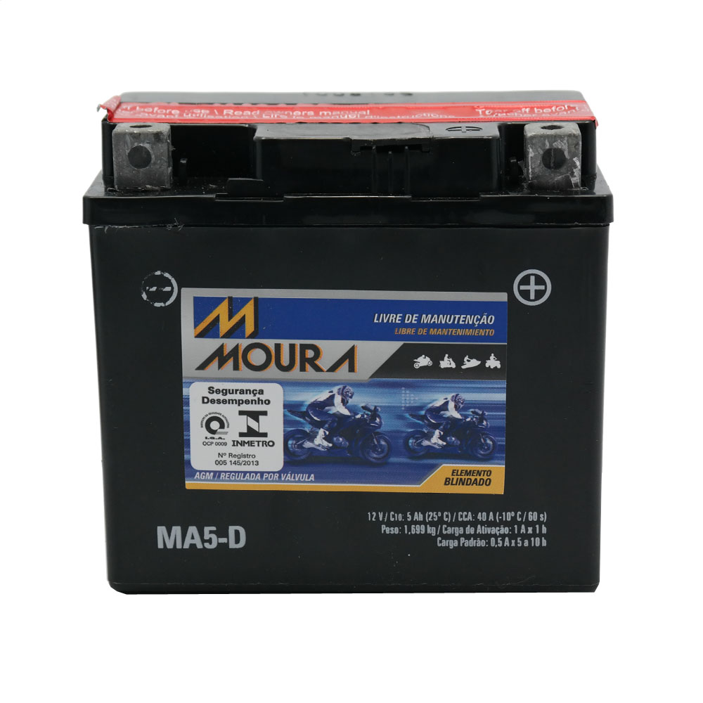 Bateria Moura MA5-DI / YTX5L-BS Cargo / Fan ES / CG Sport / Titan ES ESD ESX / NXR 150 BROS ES / XRE 300