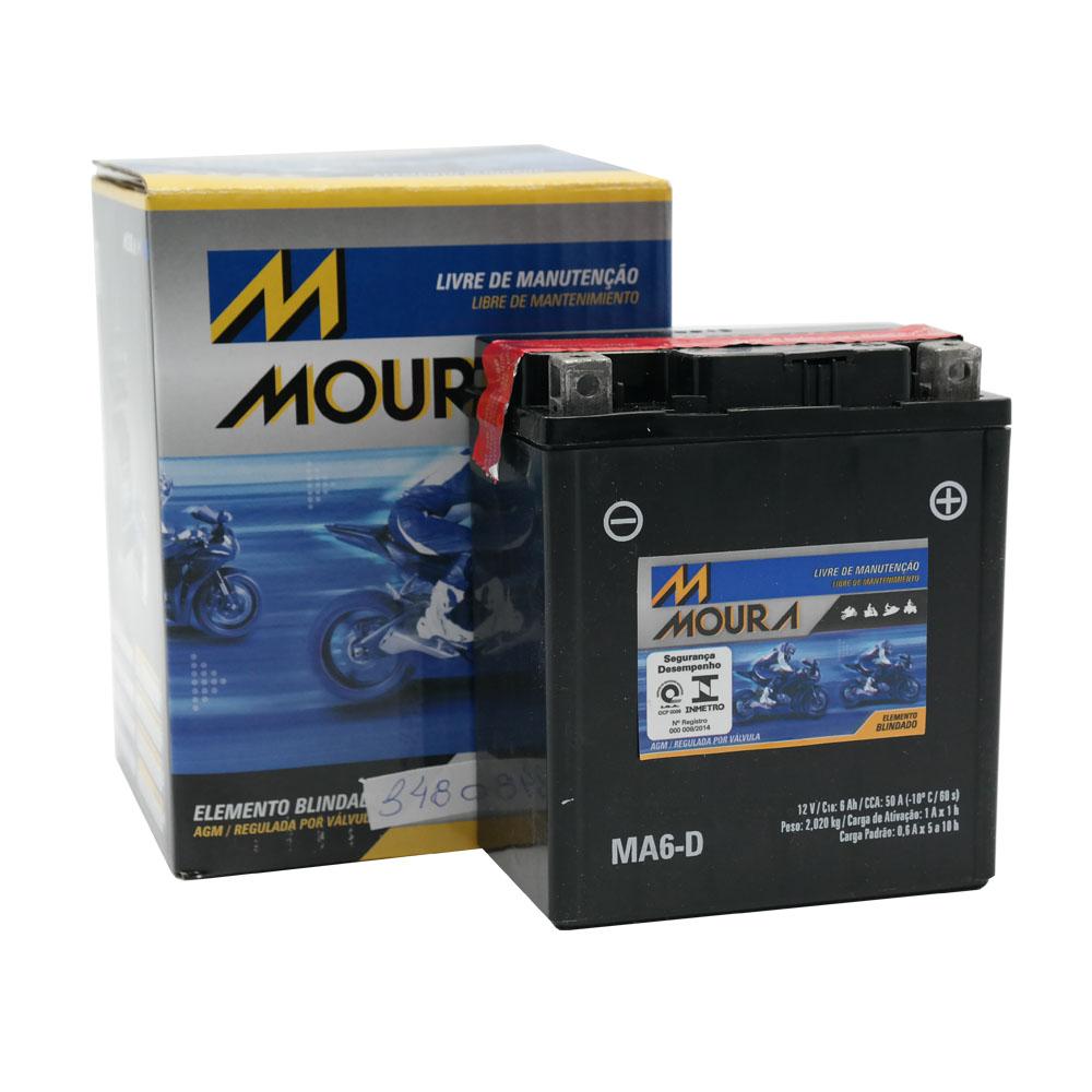 Bateria Moura MA6-DI / YTX7L-BS Lead 110   BIZ 125   XL 125 Duty   Titan 150 ES   Falcon   Twister