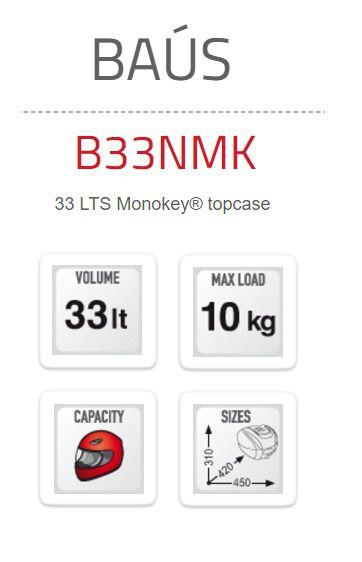 Baú Bauleto Givi 33Lt Monokey B33Nmk Preto para 10kg