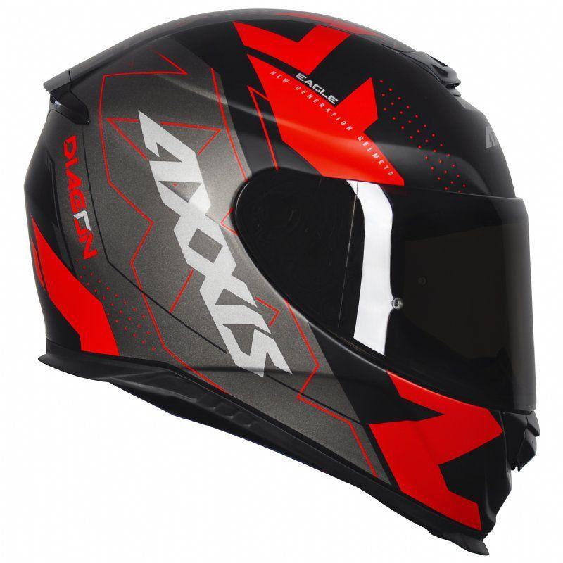 Capacete Axxis Eagle Diagon Matt Black Red Vermelho e Preto