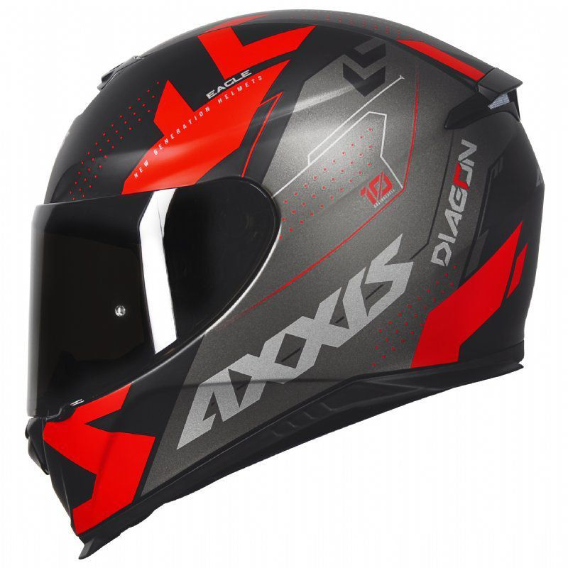 Capacete Axxis Eagle Diagon Vermelho e Preto Fosco
