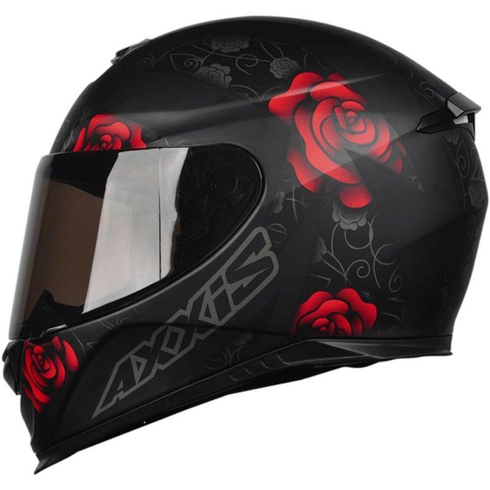 Capacete Axxis Eagle Flowers Vermelho Preto Fosco Flor Vermelha