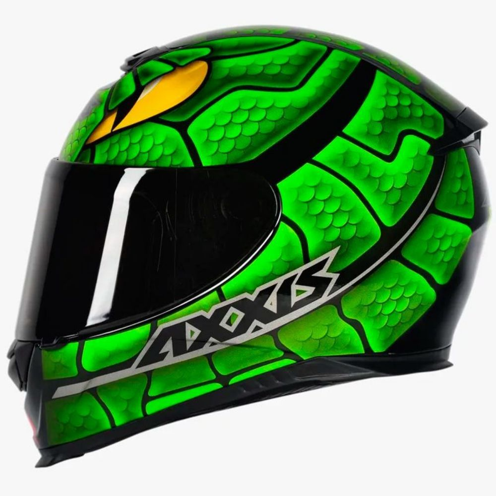 Capacete Axxis Eagle Snake Verde Brilhante Cobra Serpente
