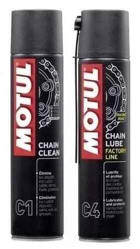 Kit Motul C1 Clean + Chain Lube C4 Lubrificantes Moto 400ml