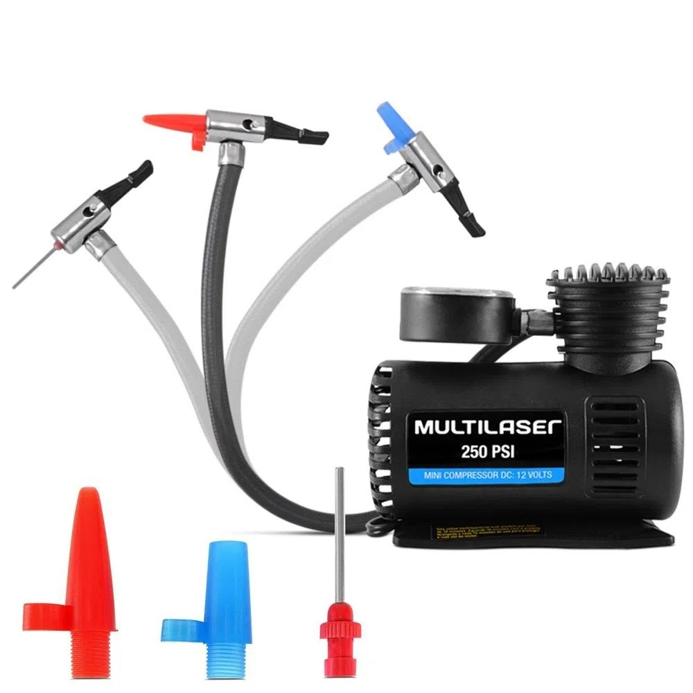Mini Compressor Ar Automotivo Multilaser Compacto 12V 250PSI Manômetro 3 Bicos Encher Pneu Bola