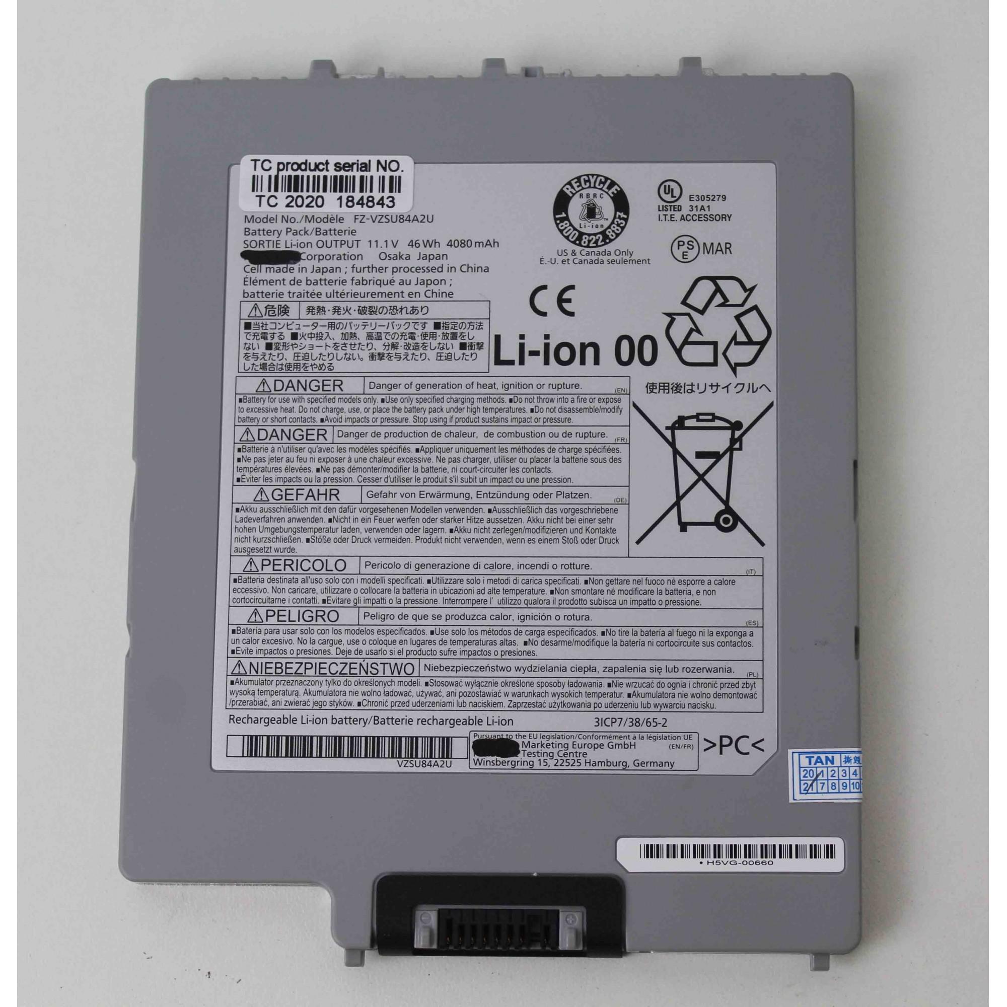 Bateria para Toughpad FZ-G1 FZ-VZSU84A2U 4080mAh 46Wh
