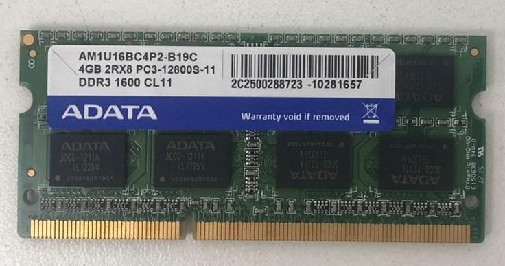 MEMÓRIA PARA NOTEBOOK ADATA DE 4GB DDR3 1600MHZ - AM1U16BC4P2-B19C - 1.5V