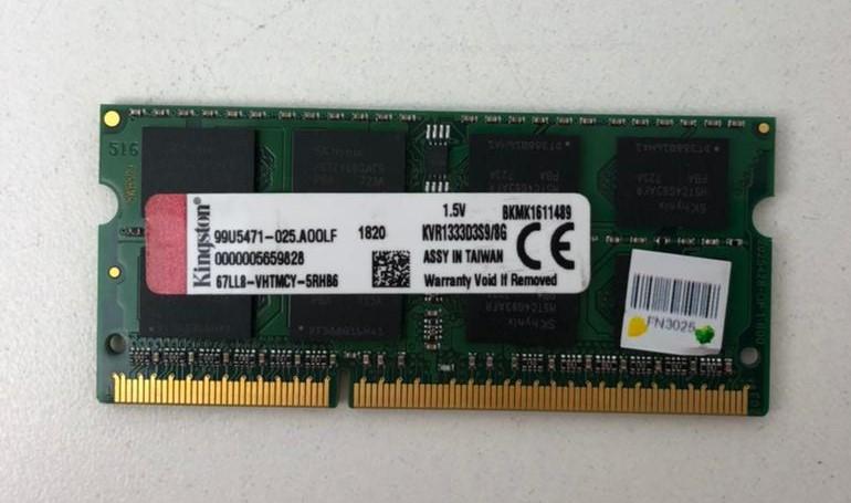MEMÓRIA PARA NOTEBOOK KINGSTON DE 8GB DDR3 1333Mhz - KVR1333D3S9/8G - 1.5V