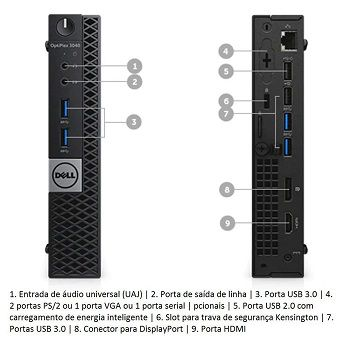 Micro CPU Dell DeskMicro Optiplex 3040M Core i3 6ª geração 8GB HD-500GB