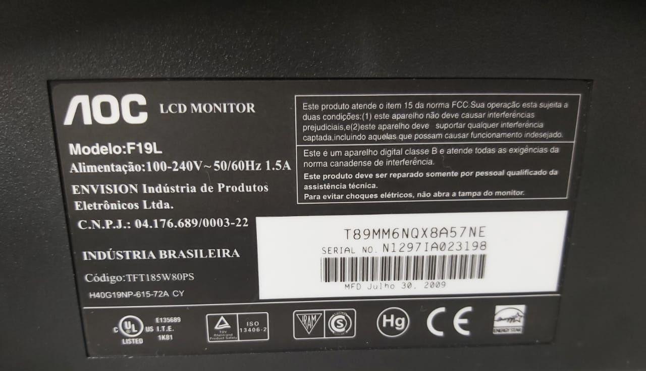 """Monitor AOC F19L 18.5"""" - LCD"""