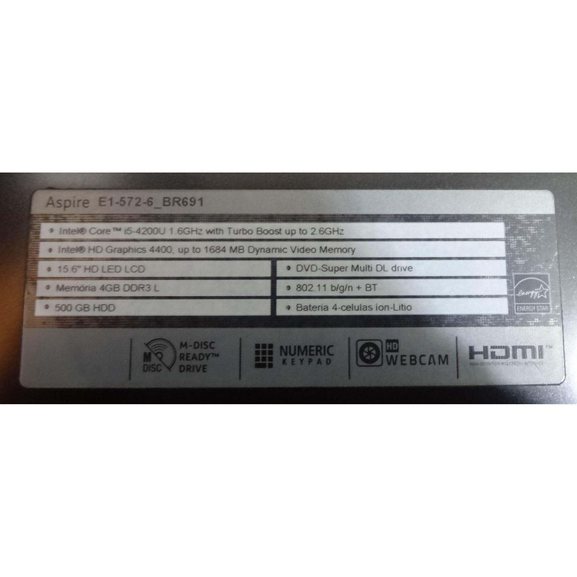 Notebook Acer Aspire E1-572 15.6'' Intel Core i5 1.60Ghz 4GB HD 500GB + Alphanúmerico ( Não enviamos )