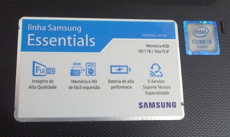 Notebook Samsung NP300E5L 15,6'' Intel Core i3 2,00GHz, 4GB HD 1TB + Alphanumérico ( Não enviamos )