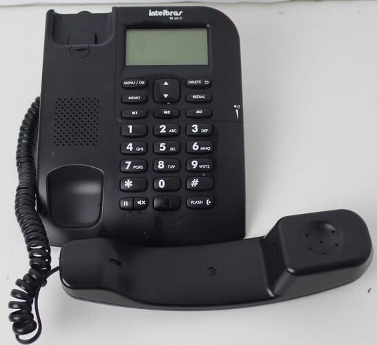 TELEFONE COM FIO INTELBRAS TC 60 ID COM IDENTIFICAÇÃO DE CHAMADAS E VIVA-VOZ - PRETO