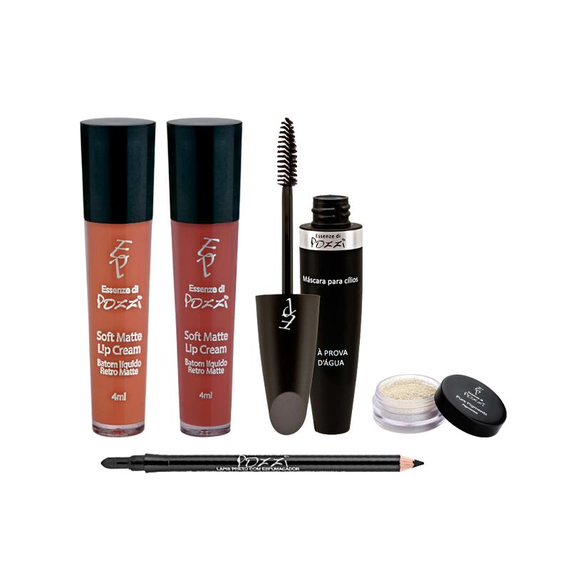 Kit Para Make do Babado - Batons Líquidos Matte MARSALA + NUDE + Lápis para Olhos Preto com Esfumador + Pigmento