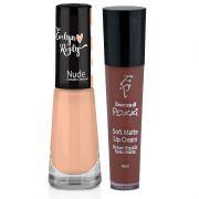 Batom Líquido Matte + Esmalte-Nude- Evelyn Regly