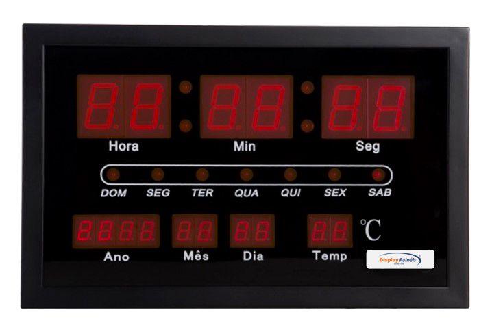 Relógio com Calendário e Temperatura Indoor 300 x 190 mm - código 10110