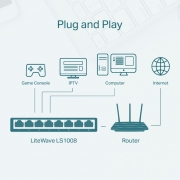 Switch TP-Link de Mesa com 8 portas 10/100 LS1008 - PC FLORIPA