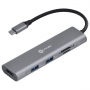 HUB USB C Vinik 5 em 1 com HDMI + 2x USB 3.0 + Leitor de cartão SD/TF HC-5
