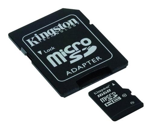Cartão de Memória 16 GB SDHC - All-In-One (Micro/SD) - Kingston - CLASSE 10 - SDC10/16GB - PC FLORIPA