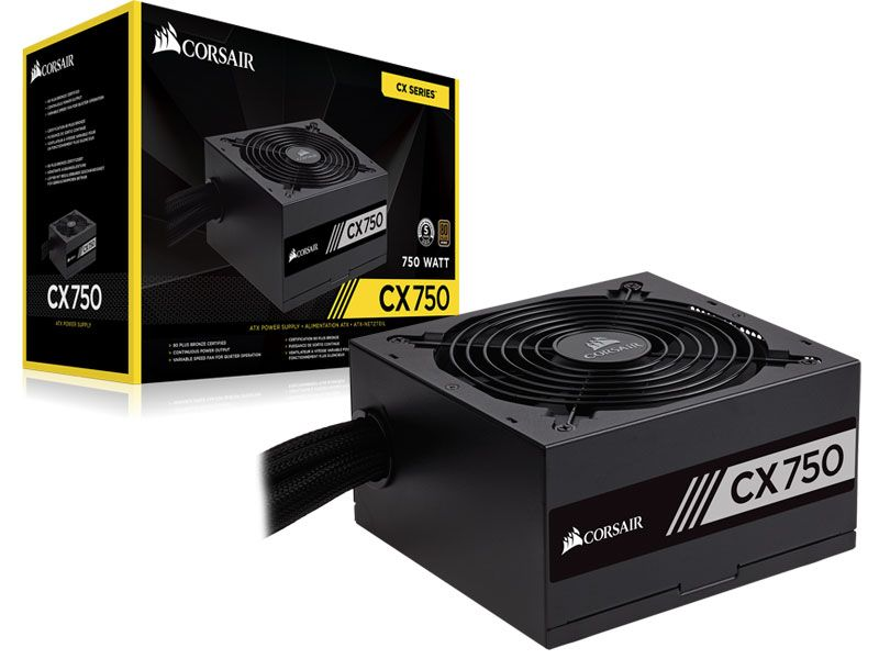 Fonte ATX Corsair 750W Real - PFC Ativo - CX750 - 80 Plus Bronze - CP-9020123-WW - PC FLORIPA
