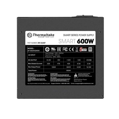 Fonte ATX Thermaltake Smart 600W Real - PFC Ativo - 80 Plus White - PS-SPD-0600NPCWBZ-W - PC FLORIPA