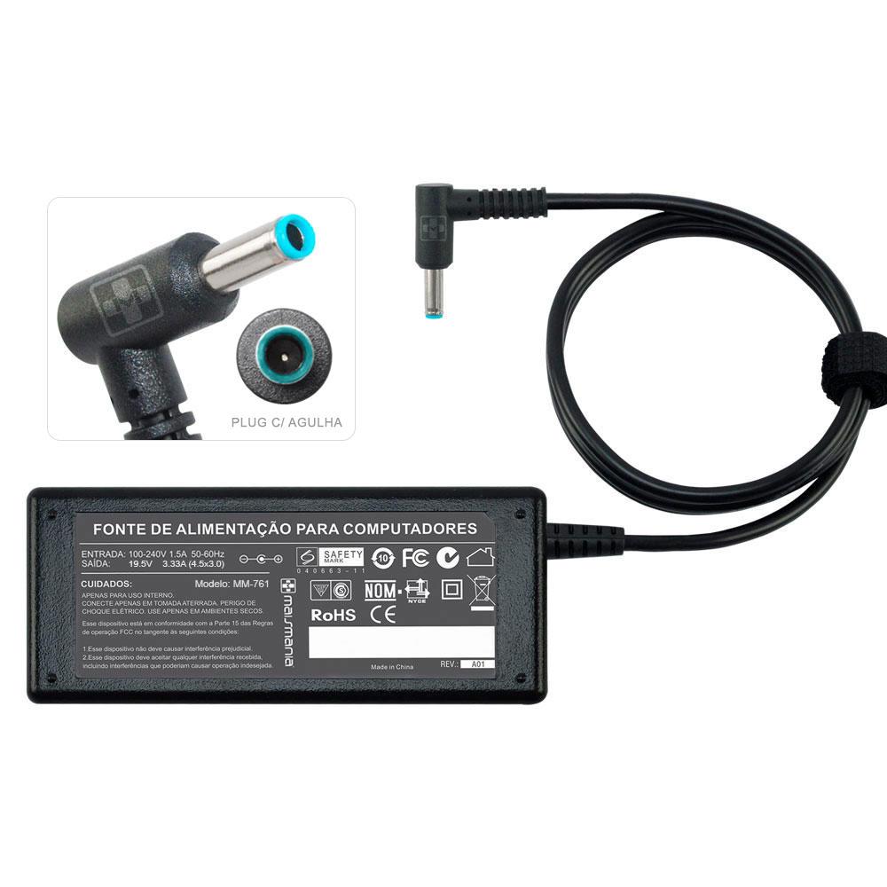 Fonte Compatível MaisMania HP 19.5V 3.33A - 4.5x3.0mm MM761 - PC FLORIPA