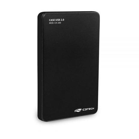 Gaveta Externa P/ HD Sata Notebook C3Tech BK Preto - USB 2.0 - CH-200 - PC FLORIPA