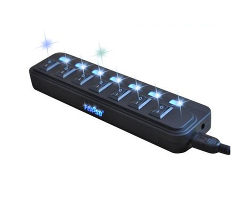 Hub USB 7 Portas Preto c/ Alimentação Feasso Liga / Desliga - PC FLORIPA