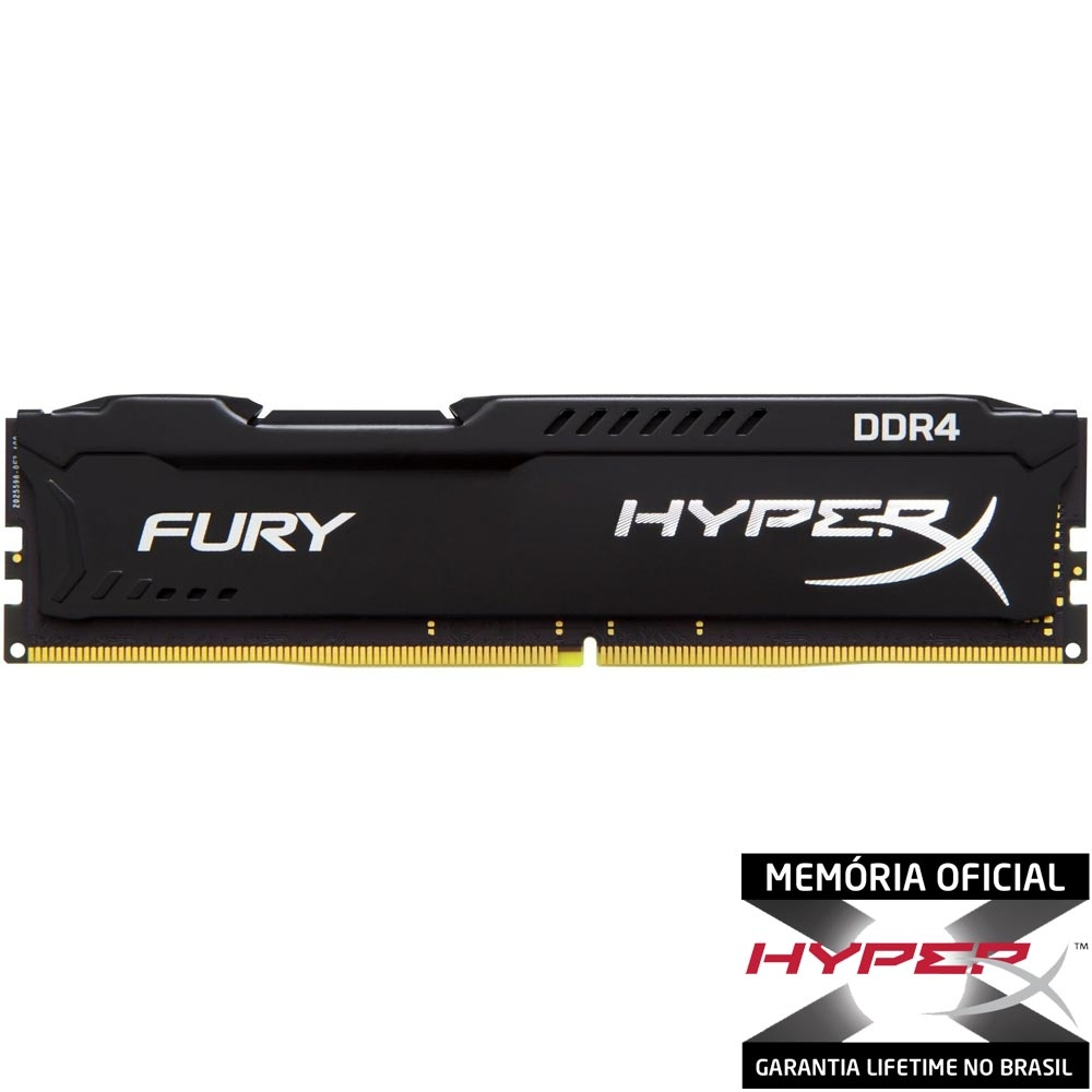 Memória 8 GB DDR4 2400Mhz Kingston - HyperX Fury Preto - HX421C14FB2/8 - PC FLORIPA
