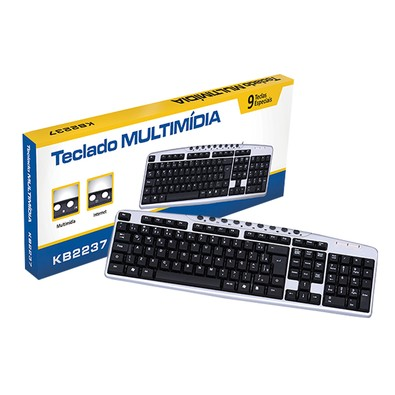 Teclado Coletek Multimidia USB Preto - KB2237-2 - PC FLORIPA