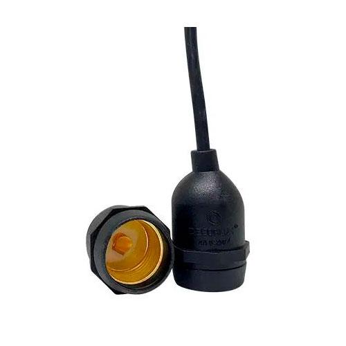 Bocal / Soquete E27 pendente rabicho, emborrachado, cor preto, 4A, 0-250V