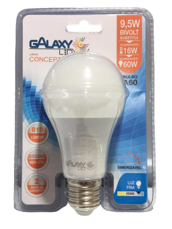 Lâmpada Bulbo Led A60 - 806 Lumens - 9,5W - Dimerizável- 6500K - GALAXY
