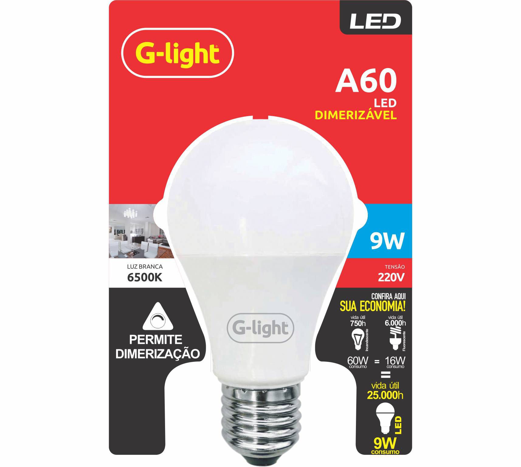 Lâmpada Bulbo Led A60 dimerizável - 9W - 6500K - G-LIGHT