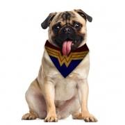 Bandana Pet Mulher Maravilha Gatos e Cachorros Dupla Face