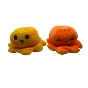 Bicho de Pelucia Polvo Reversível de Humor Tik Tok laranja e amarelo