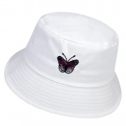 Boné Chapéu Bucket Hat Branco Borboleta Bordada Estiloso Pronta-entrega Tumblr Tiktok Vsco