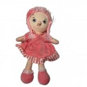 Boneca de Pano Vestido Rosa e Cabelo de Lã 30 cm