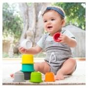 Brinquedo de Banho Copos Empilháveis Infantino Interativo