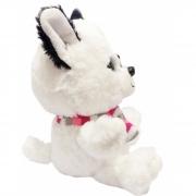 Cachorro Branco Piratinha de Pelucia com Olhos Brilhantes  25 cm
