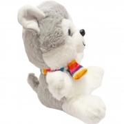 Cachorro Husky de Pelucia com Olhos Brilhantes  25 cm