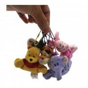 Chaveiros da Turma do Pooh com 5 personagens para mochila e agarradinhos