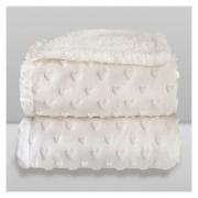 Cobertor Bebê Plush Com Sherpa Coração Branco Hearts