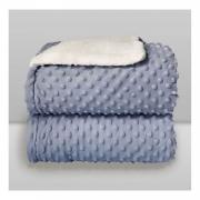 Cobertor Bebê Plush Com Sherpa Dots Azul Bolinhas