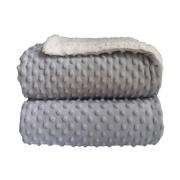 Cobertor Bebê Plush Com Sherpa Dots Cinza Bolinhas